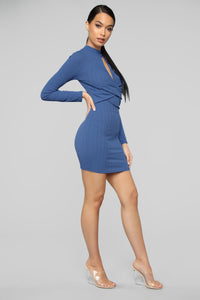 Touches My Soul Sweater Mini Dress - Blue