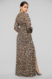 Back To the Jungle Leopard Maxi Dress - Brown