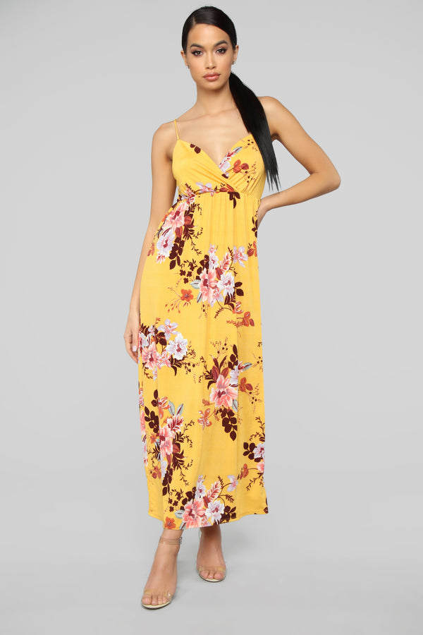 dfba5bbabb5a Year Round Vacation Dress - Mustard Floral