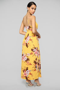 Year Round Vacation Dress - Mustard Floral