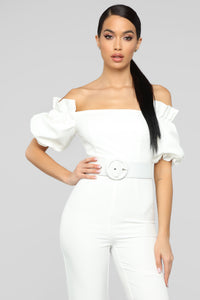 Off Topic Puff Sleeve Jumpsuit - White Angle 2