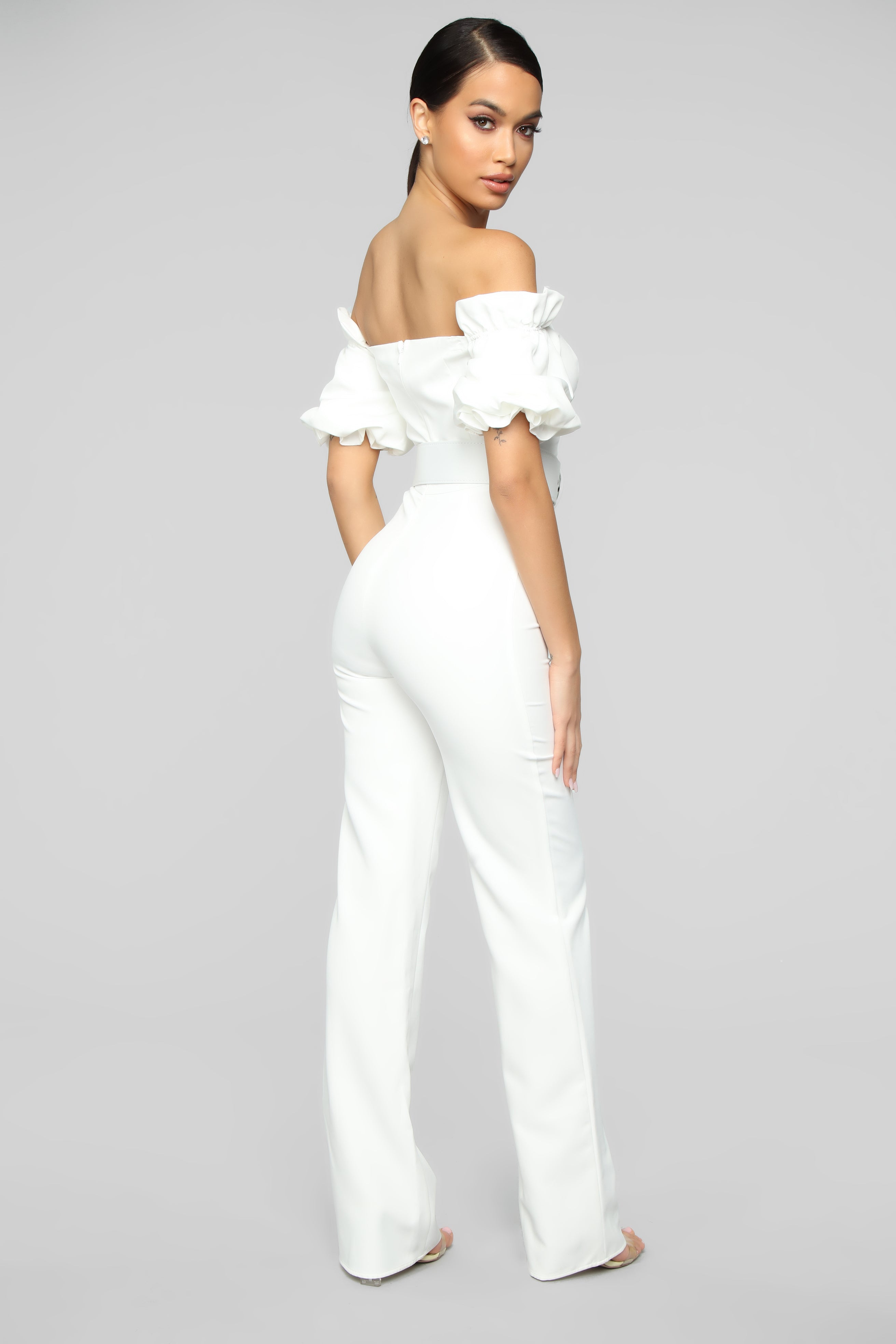 0ddad8588023 Off Topic Puff Sleeve Jumpsuit - White
