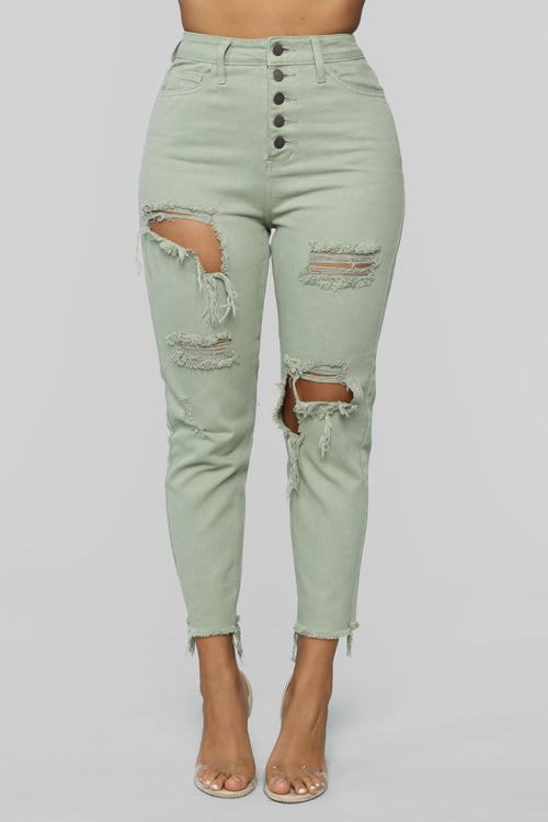 Too Anxious Distressed Jeans - Green 4ff026a14b