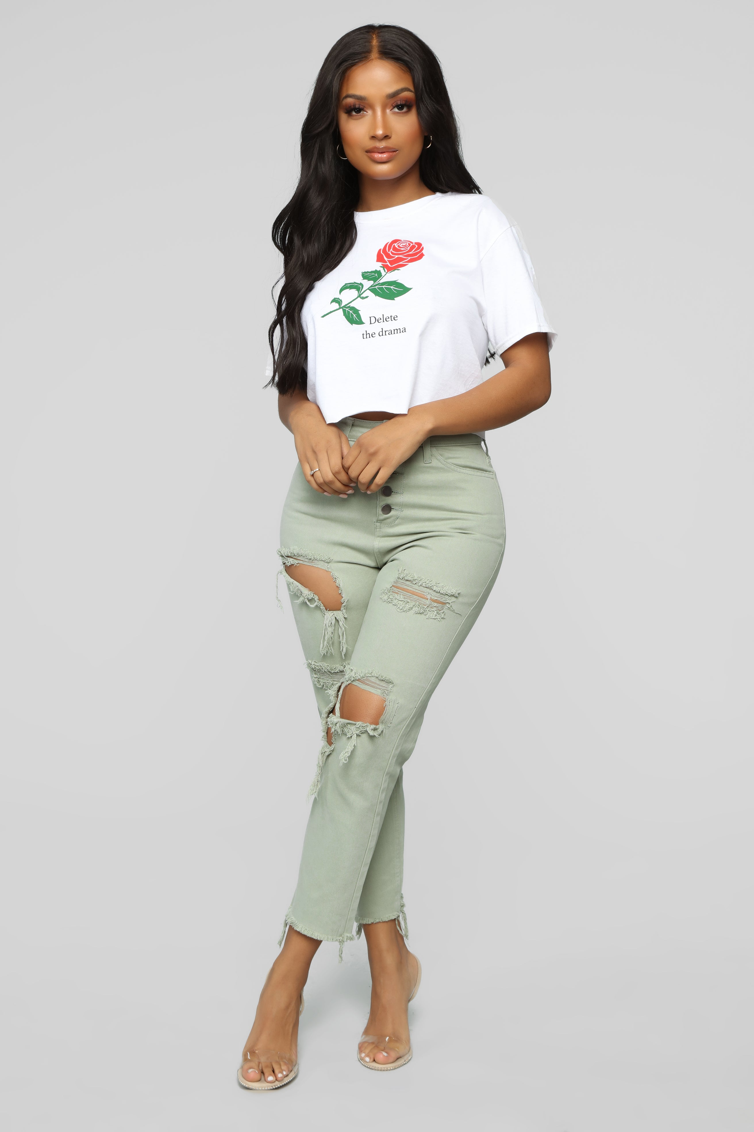717a3eba468 Too Anxious Distressed Jeans - Green
