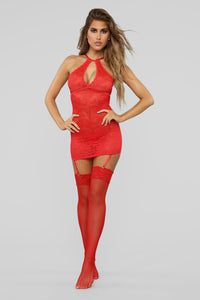 Bed Of Lace 3 Piece Chemise Set - Red