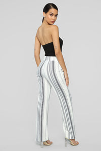 Striping Out Flare Pants - Ivory/Navy
