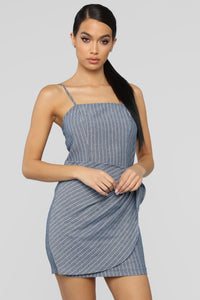Tied To Her Heart Stripe Mini Dress - Navy/White Angle 2