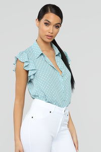 Spotted With You Top - Mint/White