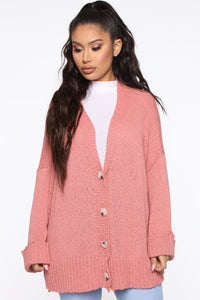 Don't Bother Me Cardigan - Coral Angle 1
