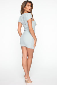 Leihla Sweater Dress - Blue Angle 3