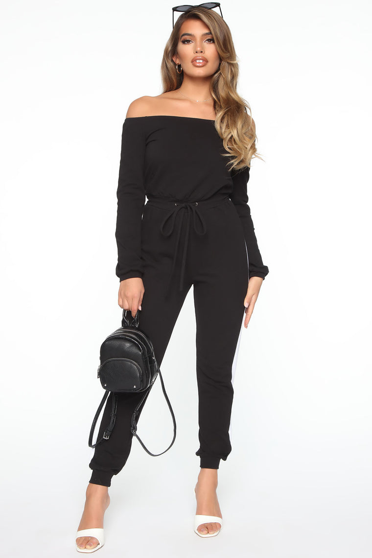 Straight Facts Off Shoulder Jumpsuit - Black/White