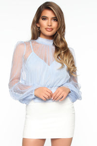 Playing Dress Up Mesh Top - Blue Angle 1