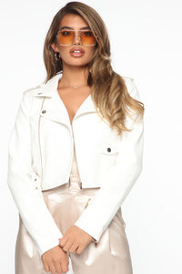 Show Stopper Crop PU Moto Jacket - White Angle 3