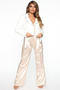 Show Stopper Crop PU Moto Jacket - White Angle 4