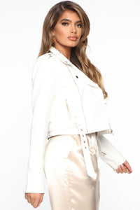 Show Stopper Crop PU Moto Jacket - White Angle 5