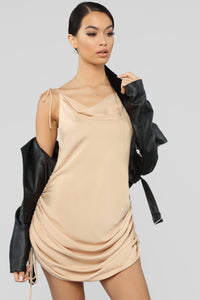 Come Pull My Strings Mini Dress - Taupe Angle 5