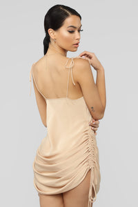 Come Pull My Strings Mini Dress - Taupe Angle 7