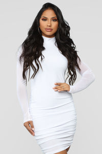 Clean And Clear Ruched Dress - White