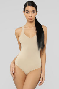 Zoey Racer Back Bodysuit - Taupe
