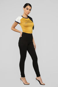 Women Move Mountains Ringer Top - Mustard