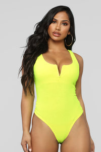 Double The Trouble Bodysuit - Neon Yellow
