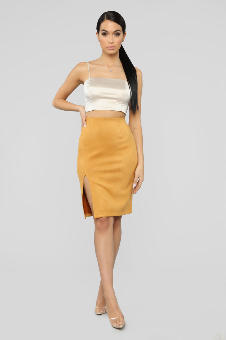 Risque Business Faux Suede Skirt   Mustard by Fashion Nova