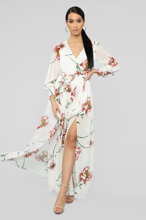 The Moment I Knew Maxi Dress - Ivory/Pink