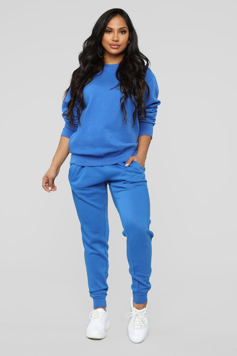 Stole Your Boyfriend's Oversize Crew Sweatshirt - Blue
