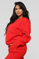 Stole Your Boyfriend's Oversize Crew Sweatshirt - Red