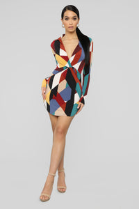 Let's Get Down Mini Dress - Multi