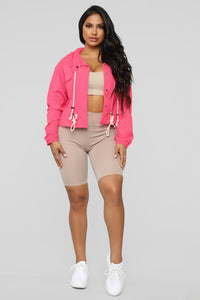 Bad Babe Windbreaker Jacket - Pink