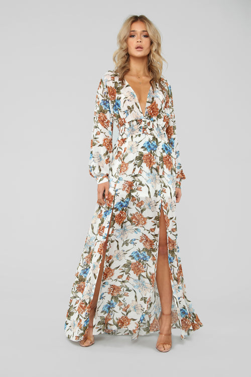 Come Find Me Floral Maxi Dress - Ivory/Combo