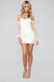 Shine Over You Ruched Dress - White/Gold