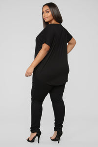 Dream On Short Sleeve Top - Black Angle 10