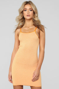 It's Your Move Checkered Sweater Dress - Orange