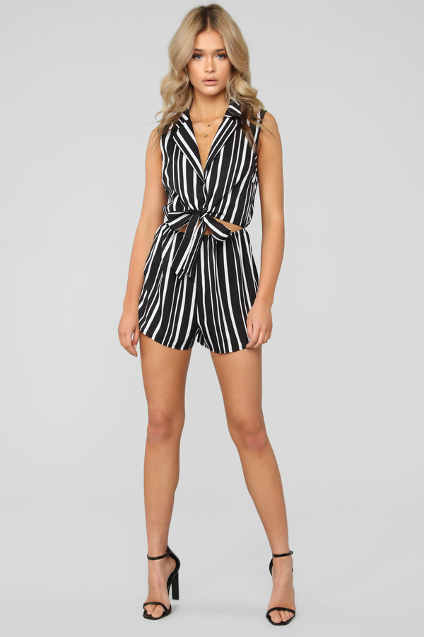 b4ee1816ce65 A Tie From The Start Stripe Romper - Black White