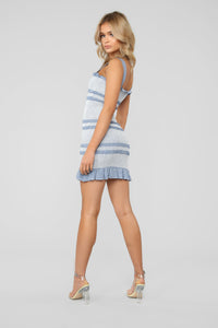 Perfect For You Smocked Mini Dress - Blue