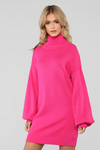 Catch Me Looking Cozy Sweater Dress - Fuchsia