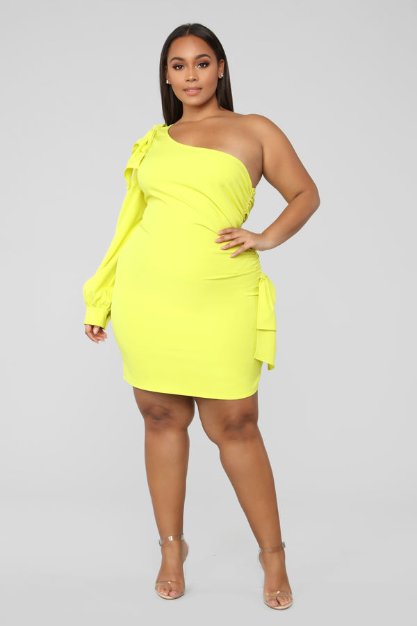 67c1878a560a3 Lady Of The Haus One Shoulder Dress - Yellow