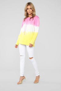 Tie Dye Hooded Sweater - Pink/Combo