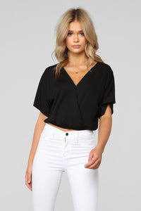 Hey You Surplice Top - Black