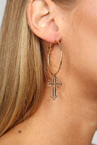 Cross Your Mind Hoop Earrings - Gold