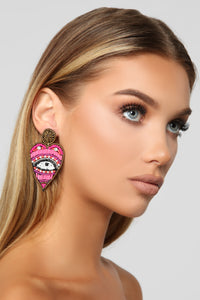 See Right Through You Earrings - Pink