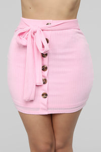 Bethany Ribbed Skirt Set - Pink
