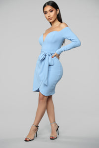 Good Impressions Off Shoulders Mini Dress - Powder Blue