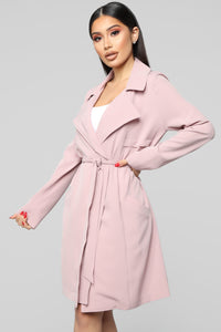 Walks In The Park Trench Coat - Pink Angle 4
