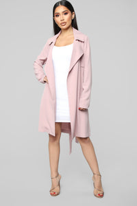 Walks In The Park Trench Coat - Pink Angle 1