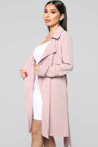 Walks In The Park Trench Coat - Pink Angle 2