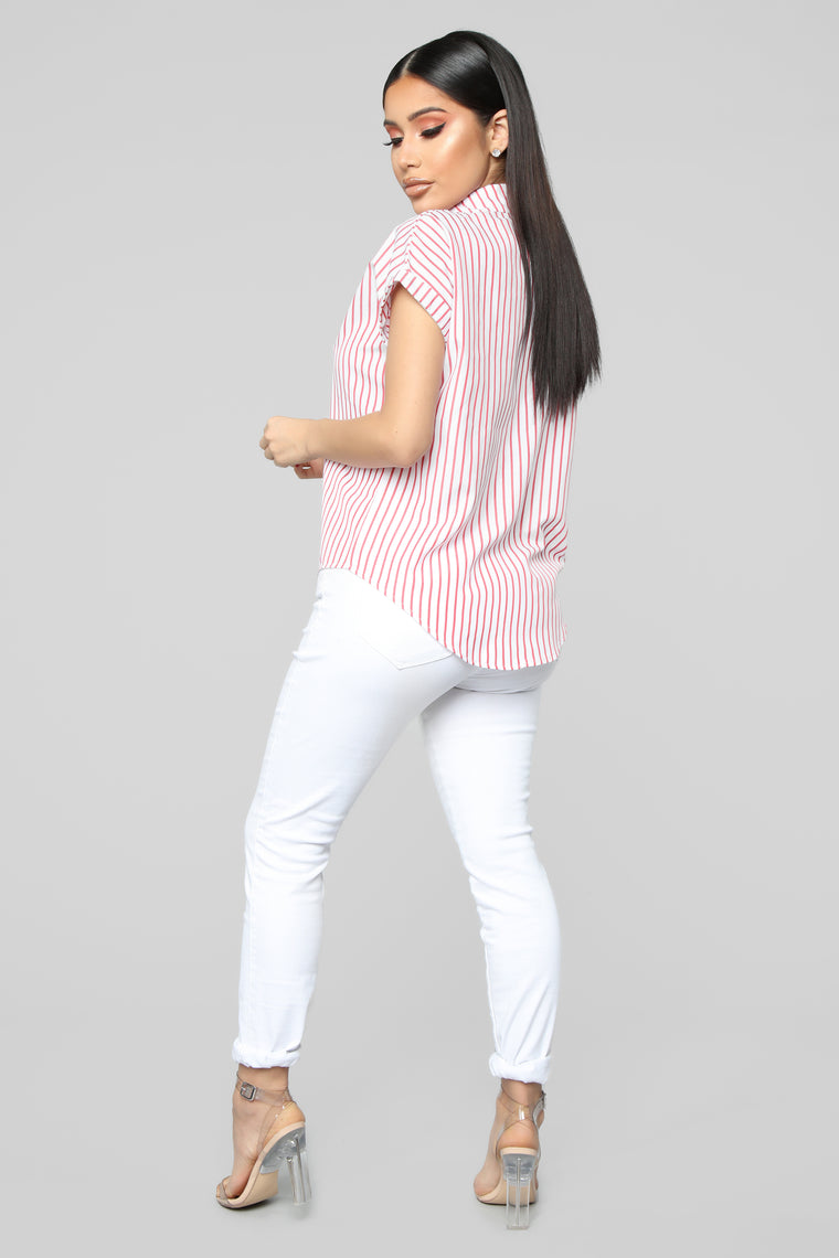 Leave It Me Stripe Top - Red/White