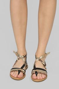 Are We There Yet Flat Sandals - Black/Leopard Angle 3